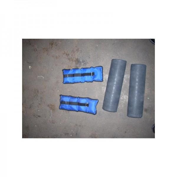 2 Gewichtsmanschetten und 2 Halbrollen (40x6cm) in grau